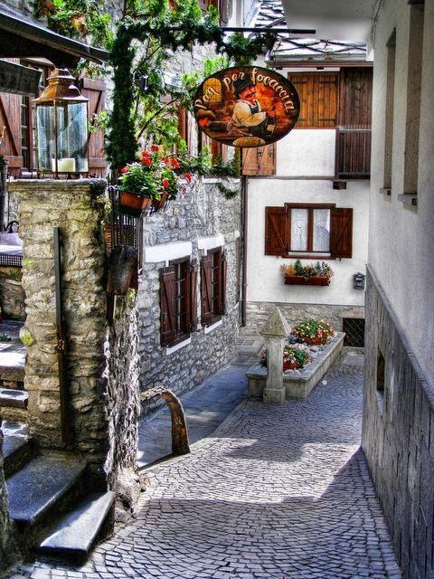 Courmayeur alley, Valle d'Aosta, Italy