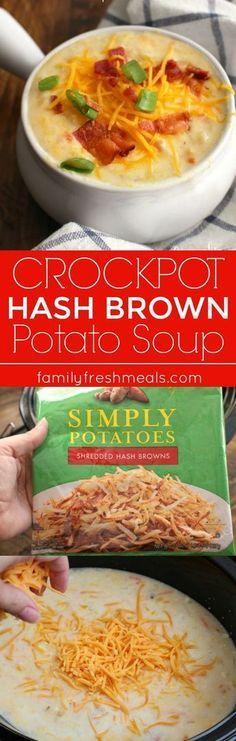 Loaded Crockpot Hash Brown Potato Soup - Family Favorite Recipe -
