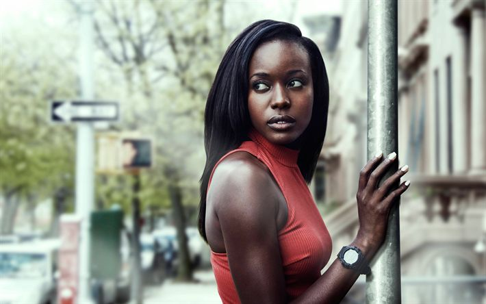 Download wallpapers Anna Diop, 4k, portrait, Senegalese actress, Hollywood, red dress, American actress
