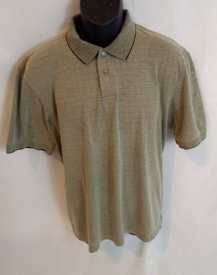 $18.50   Hagger Men's Khaki green Dress Shirt 63% Cotton Large in good condition  #Haggar #Standard