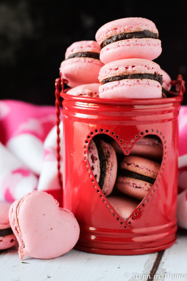 Valentine Chocolate Strawberry Macarons, a festive and gluten-free dessert for someone sweet in your life. Or, just you. You're sweet, too.