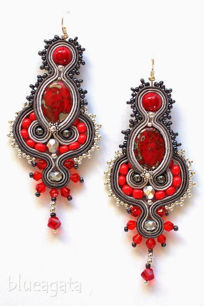 blueagata: Beautiful patern of red & grey earrings.
