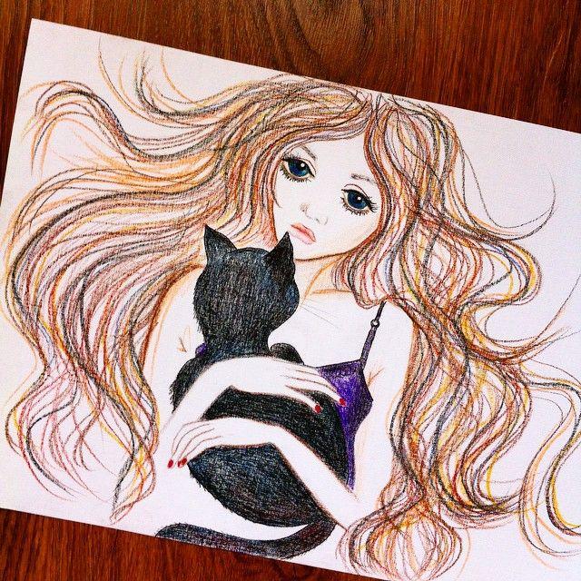 #art #watercolor #pencils #girl #hair #black #cat #mac #spring #people #drawing #арт #рисунок #рисование #акварель #карандаши #девушка #черный #кот #мак #весна #творчество #фантазия #волосы #ветер #мимими