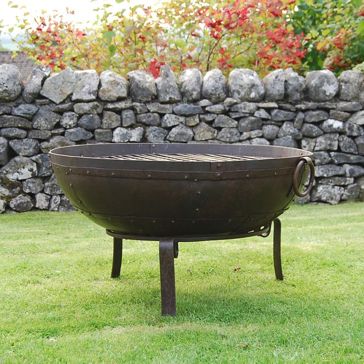 The Recycled Iron Kadai Barbeque Fire Bowl makes a stunning feature added to any garden or patio.