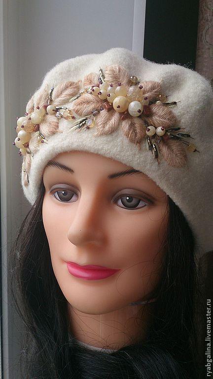 """Купить Берет """" Нежность"""" - белый, цветочный, берет женский, берет из шерсти, подарок женщине"""