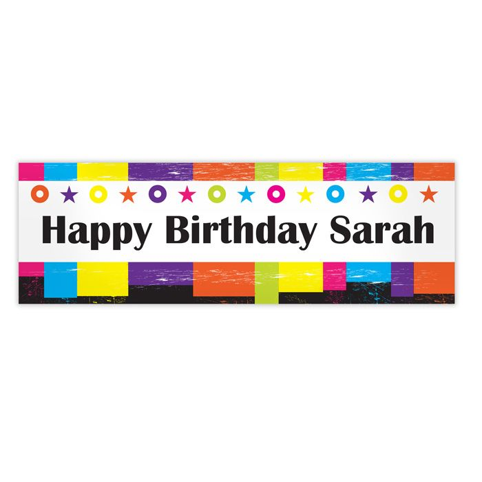 Rainbow Banner from personalised-by-you.com - A personalised Rainbow Banner, ideal for any funky party, such as a birthday or anniversary, over 1 metre wide!