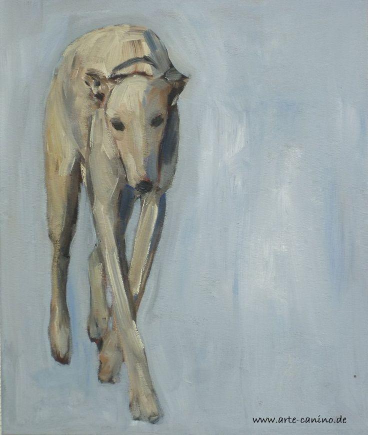 Greyhound, 60 x 50 cm , Acrylic on canvas, artist Claudia Gaede