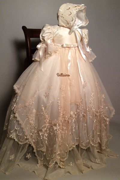 Victorian Lace Christening Heirloom Gown, Embroidery French Lace and Silk Baptism Gown My new creation! Victorian inspired French embroidery Lace christening gown bonnet,shoes and bib I created this g