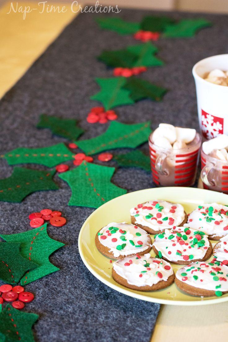 DIY Felt Christmas Table Runner with Holly