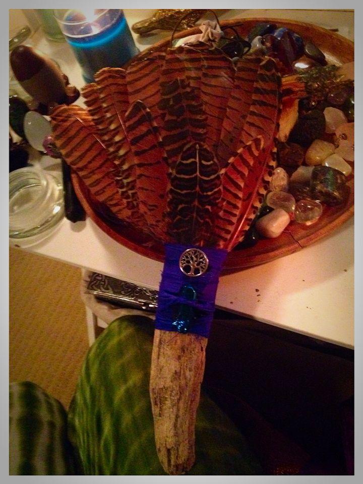 Hawk feather smudge fan