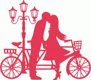 Silhouette Design Store - View Design #83700: couple kissing tandem bicycle lamp post