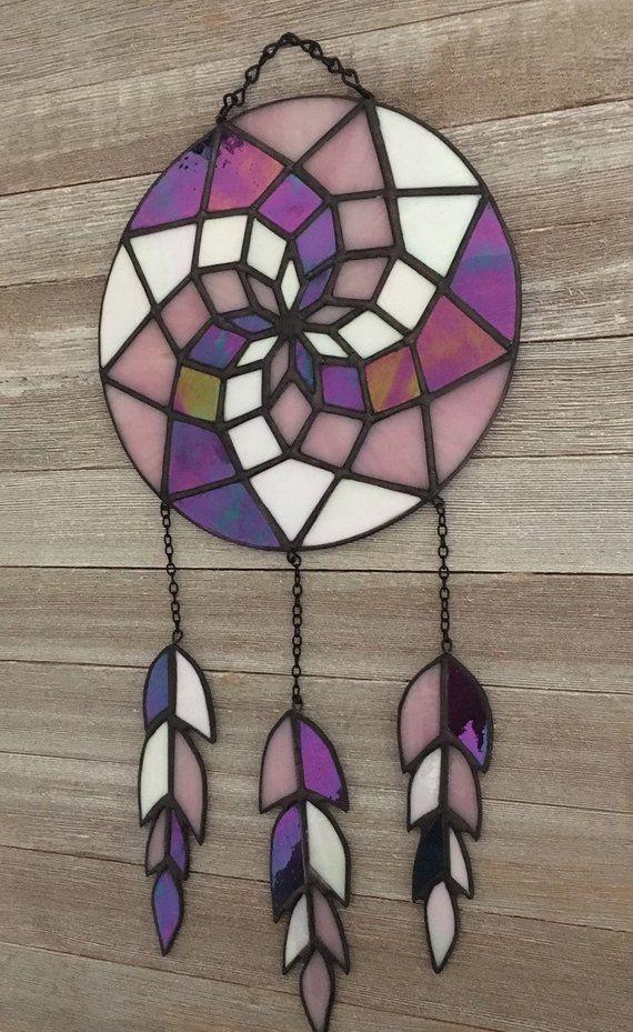 1ad968086 Dream Catcher vidrieras de cristal en morado, rosa y blanco, decoración del  suroeste, arte nativo americano, pluma de vidrio, colores personalizados ...