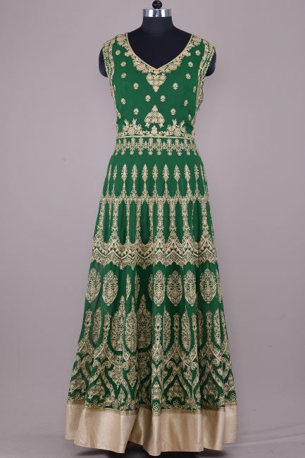 d3122873d1 Forest Green Georgette Zari Embroidered Anarkali Salwars-SL8992 ...