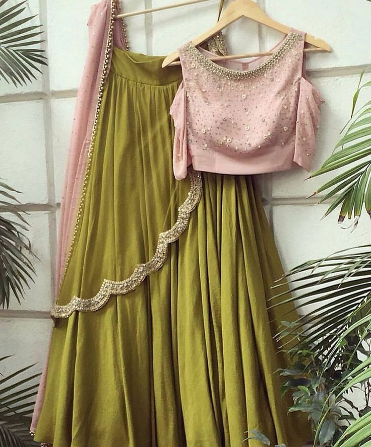 Olive Green And Pink Lehenga Online Shopping ,Indian Dresses - 1