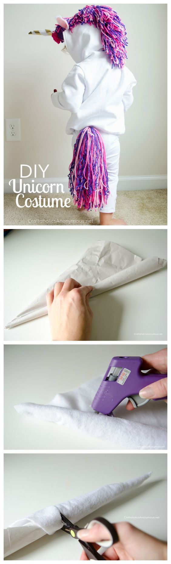 Halloween costumes have gone unicorn! This costume pattern is a simple idea, and we love the hair