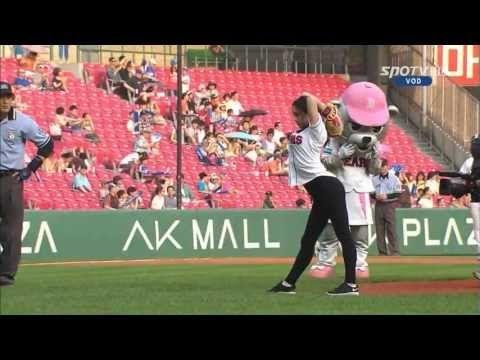 South Korean rhythmic gymnast Shin Soo-ji's first pitch