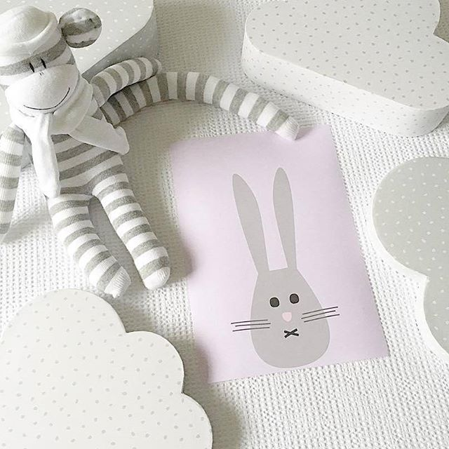 Mr Bunny I art print - Makers Ink, with cute sock monkey by @squiggly_monkeys.    Styling & pic by @casacreativity.    Nursery decor, nursery styling, girls room, kids room, baby nursery, pink nursery print