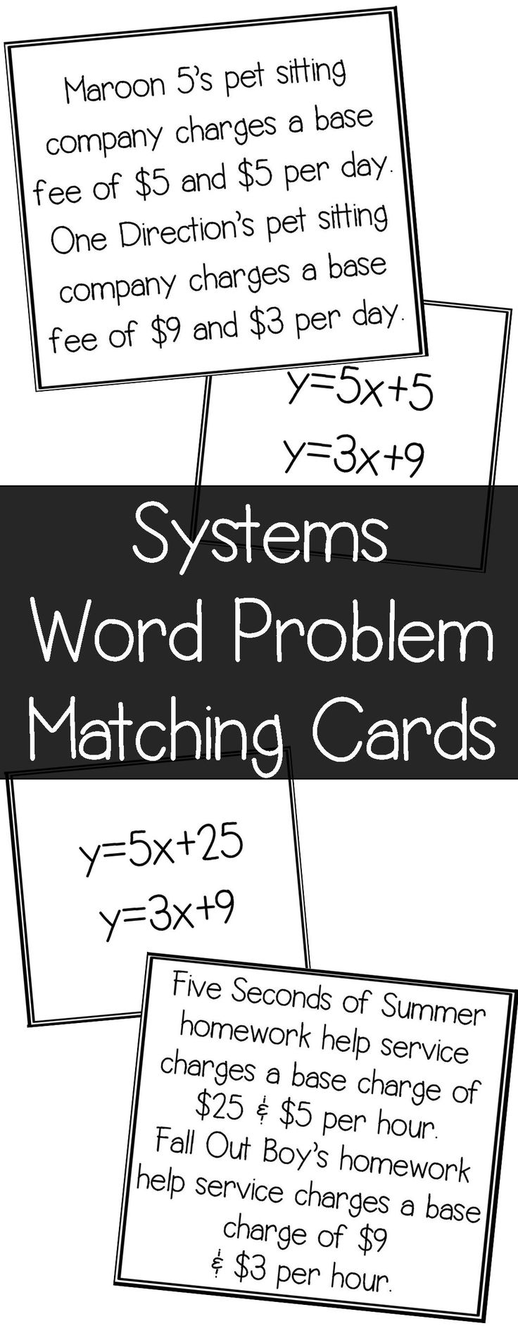 "I love doing card matches like this in the classroom!  This matching systems of equations word problem matching activity is so perfect because it uses all similar numbers.  Students can't just ""guess"".    A.2I Write systems of two linear equations given a table of values, a graph, and a verbal description"