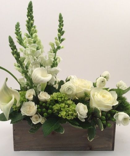 Peaceful Garden-A unique arrangement for many occasions. Choose all white for sympathy or to accent a colorful room or ask our designers to add your favorite accent color. #ToblersFlowers #KansasCityFlowers #GetWellFlowers