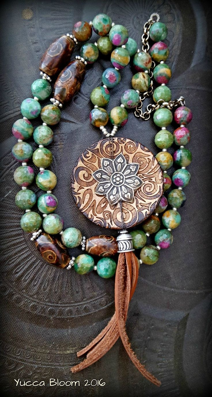 Gypsy, Bohemian, Leather Tassel, South West, Rustic, Ruby Zoisite Bronzite, Shell, Button, Kuchi, Long Beaded Necklace by YuccaBloom on Etsy
