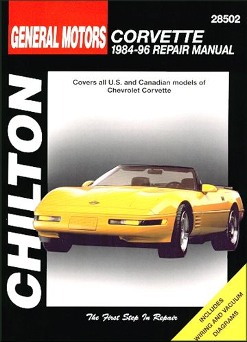 1984-96 Chilton's Corvette Repair Manual - This complete book includes sections on general information, engine performance and tune-up, engine rebuilding, emission controls, fuel system, chassis, electrical, drive train, suspension, steering, brakes, body and more.  Hundreds of detailed photos and diagrams.  Available at VBP (part no. 28510) http://www.vbandp.com