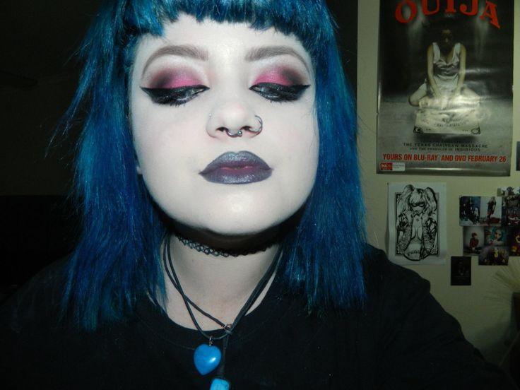 Hot pink defined and glamorous  #eyes #bluehair #crystals #hotpink #eyeshadow #makeup #goth #dark #defined