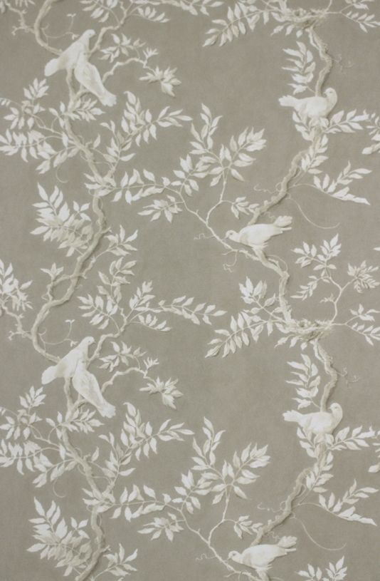 Doves Wallpaper A wide width wallpaper featuring a beautiful print by Flora Roberts depicting serene doves nestled in branches in ivory on a...
