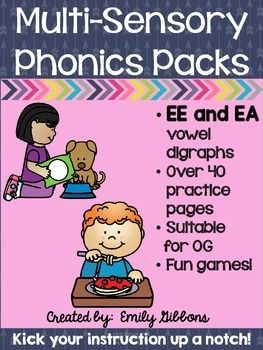 Vowel Digraphs {EE and EA}This vowel digraphs pack has everything you need to teach the vowel digraphs ee and ea. It is compatible with Orton-Gillingham and other reading interventions.What is included in this vowel digraphs pack?-vowel digraph ee and ea word lists-vowel digraph ee and ea play dough mats-vowel digraph ee and ea mini posters-vowel digraph ee and ea cursive handwriting practice-vowel digraph ee and ea clip cards-vowel digraph ee and ea practice sheets, rhyming, missing…