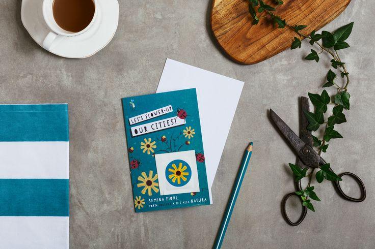 Eugea Cards Coccinella - semina fiori porta fortuna a te e alla natura. Biglietto disegnato e colorato da Agnese Baruzzi, contiene dei semi di Coreopsis una bellissima pianta che nutre le coccinelle con il suo nettare e polline.