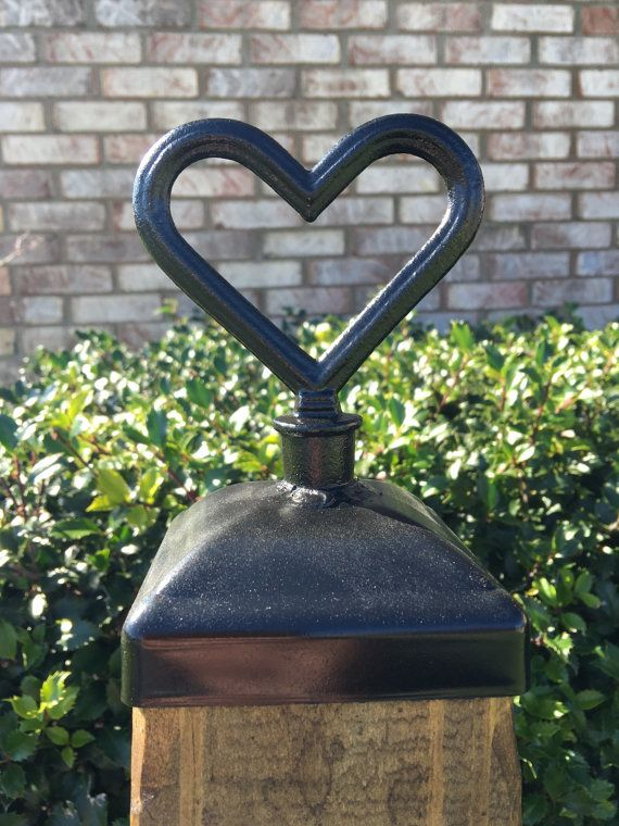 Fence Post Cap Decorative heart for 4x4 fence and by mironandwood