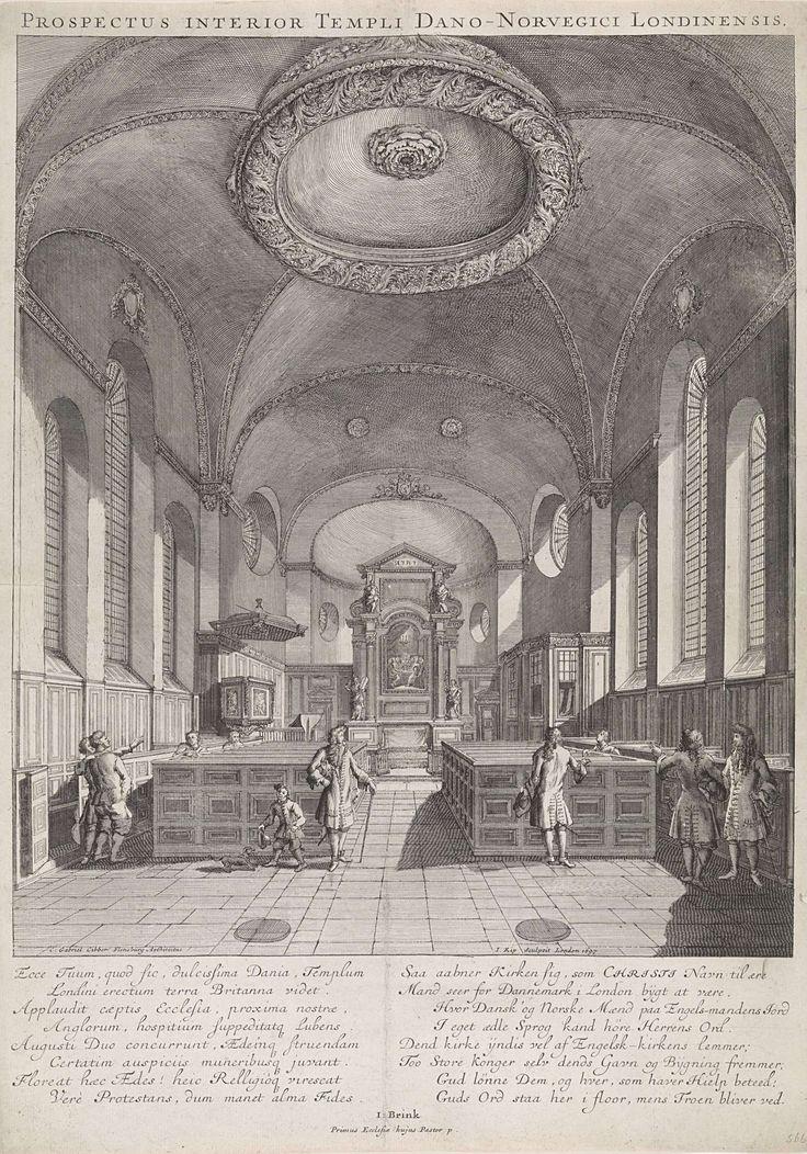 Johannes Kip | Interieur van de Deense Kerk te Londen, Johannes Kip, I. Brink, 1697 | Het interieur van de Deense Kerk te Londen met een blik op het hoofdaltaar met een schilderij van het Laatste Avondmaal. Links de preekstoel en rechts biechtstoelen. In het interieur bevindt zich een aantal mensen die de kerk bewonderen. Onder de afbeelding staan twee kolommen met tekst; links in het Latijn en rechts in het Deens.