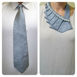 A new twist on the old necktie!  The ruffled tie but add some bling.  Could also add fringe to underside or more rhine stones or cuff links!