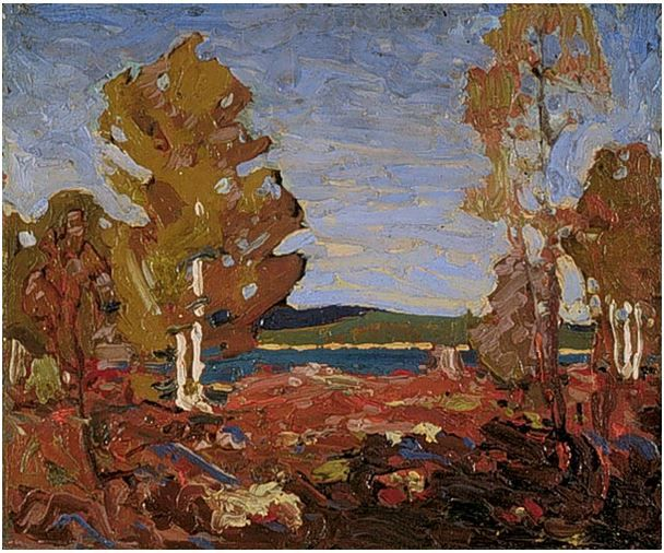 Tom Thomson Catalogue Raisonné | Trees and Stump above a Shore, Summer or fall 1916 (1916.90) | Catalogue entry