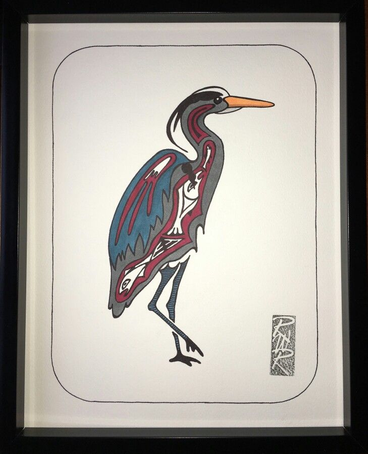 """Blue Heron #2"" Ink on watercolour paper created by Rick Roberts"