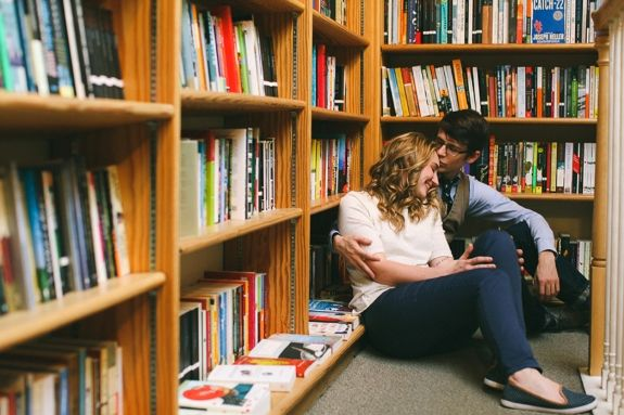 Matt & Katie's adorable bookstore engagement & quirky love story in Washington, DC. Images by Birds of a Feather Photos.