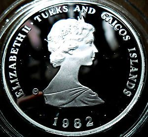 10 Crown Turks Caicos Islands 1982 Silver Proof World Footbal Championship Obv