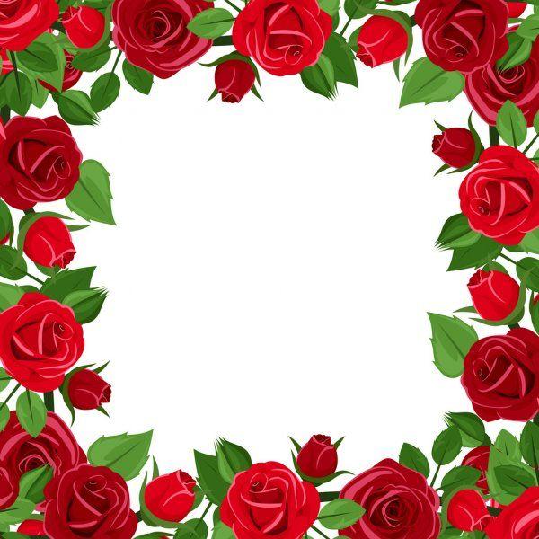 Marco Con Rosas Rojas Y Hojas Verdes Ilustracion De Vector Ilustracion De Stock Flores Abstractas Arte Rosa Flores Rojas Y Blancas