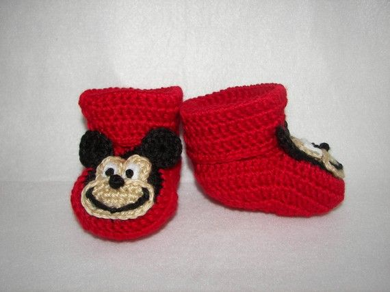 Baby Booties Mickey Mouse NB to 6 Months Finely Finished