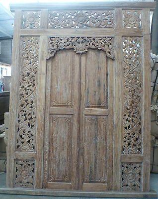 Large Recycled Teak Hand Carved Balinese Doors Whitewash