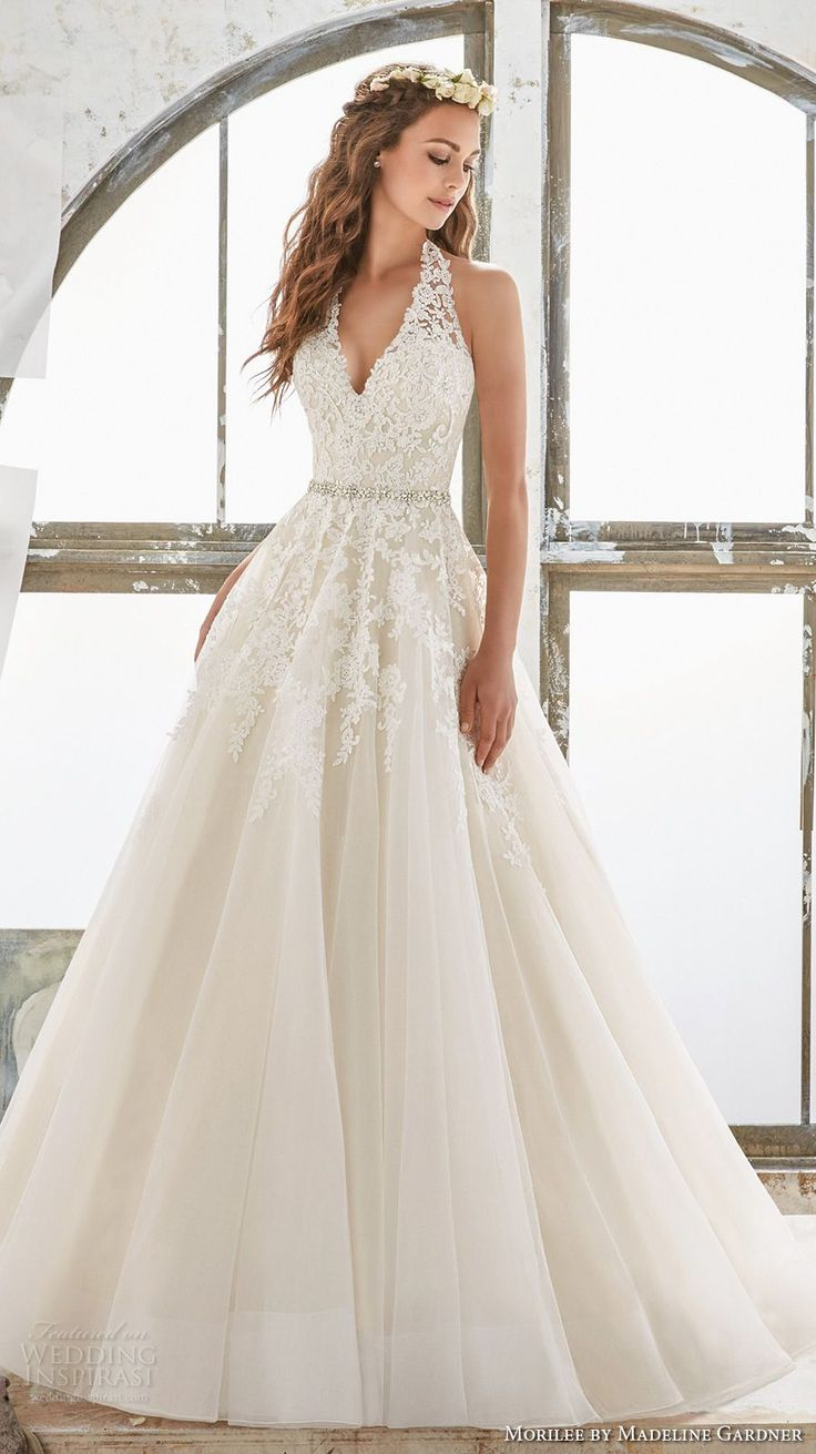 V-neck wedding dress images
