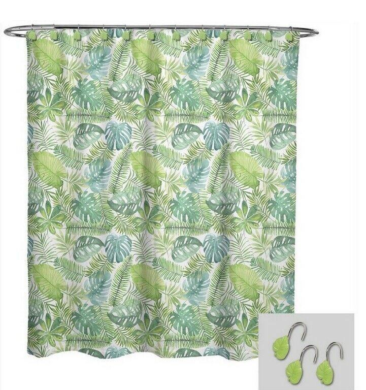 Avanti Palm Leaf Fabric Shower Curtain Hook Set Summer Beach