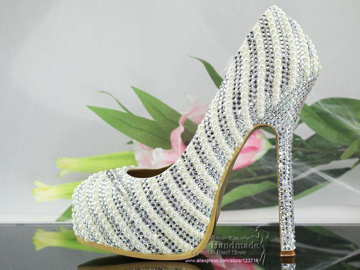 Handmade Custom Design Ladies High Heel Elegant Silver Diamante Wedding Shoes With Matching Clutch Evening Bag