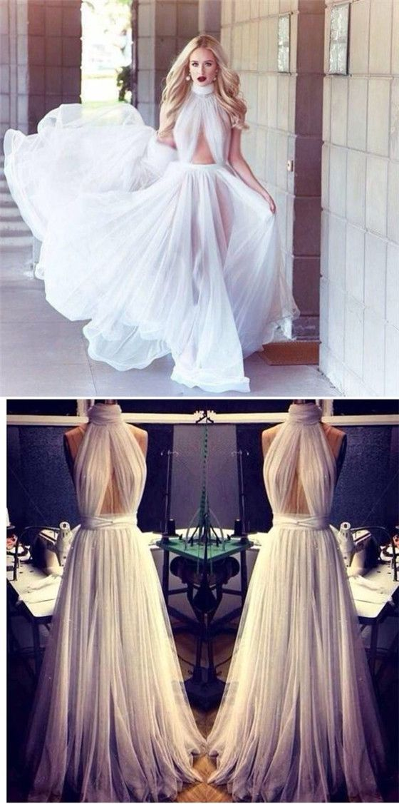 High neck prom dress, sexy tulle prom dress, backless prom dress, dresses for prom, long prom dresses #promdresses #highneck #white #tulle #a-line #longpromdresses