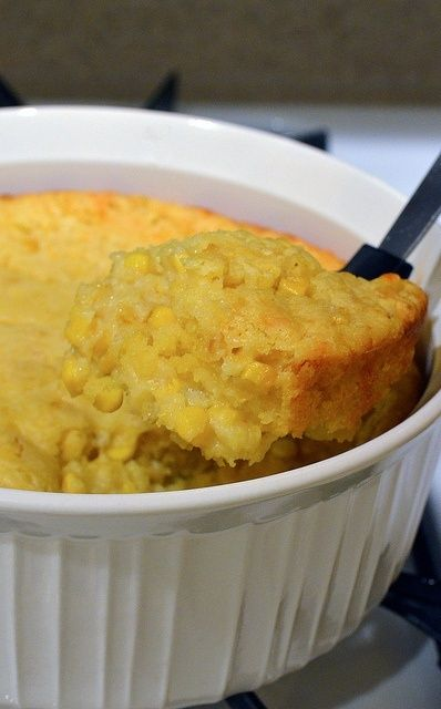 Corn Casserole 1 box Jiffy, 1 can cream corn, 1 can whole kernel corn (drained), 2 eggs, 1 stick butter (melted), 1 Cup Sour cream. Mix all together in casserole, adding the sour cream last. Bake in 350 oven for 45 minutes. This can be doubled or tripled. It's a family favorite