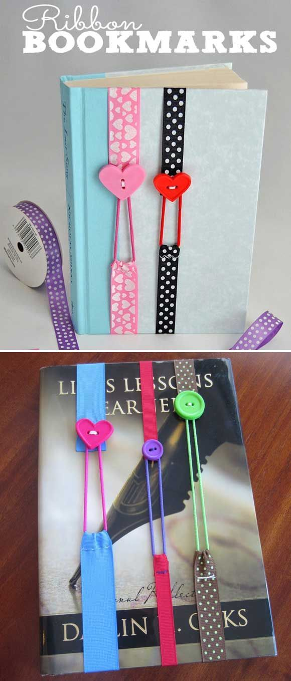Use a piece of ribbon, a hair band elastic, a button and needle with thread to make a cute bookmark.