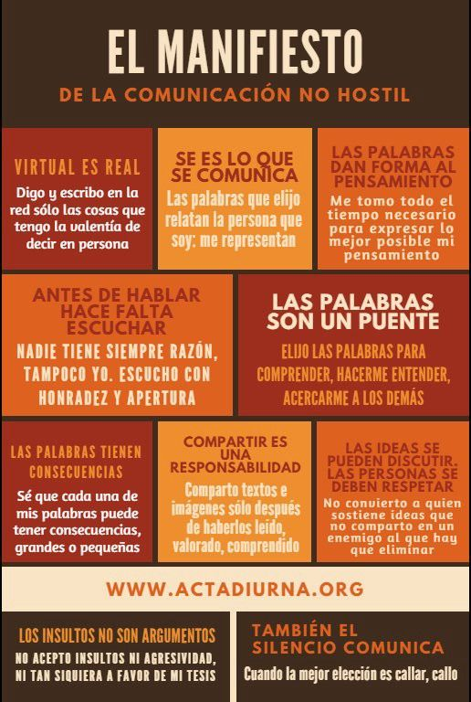 Decálogo de la comunicación no hostil – Jose Luis Orihuela – Medium. Vía: Rafa Martín Aguado y Acta Diurna.  Relacionado: Educar para una comunicación no hostil. Jose Luis Orihuela, Profesor en UNAV, conferenciante y escritor. Leer en https://medium.com/@jlori/decálogo-de-la-comunicación-no-hostil-dbf98c5826ef