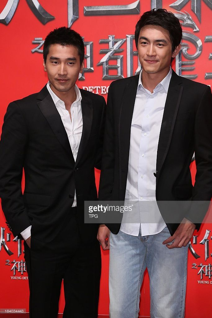 Mark Chao and Lin Gengxin attend the news conference for 'Young Detective Dee: Rise of the Sea Dragon' on Wednesday October 2,2013 in Taipei,China