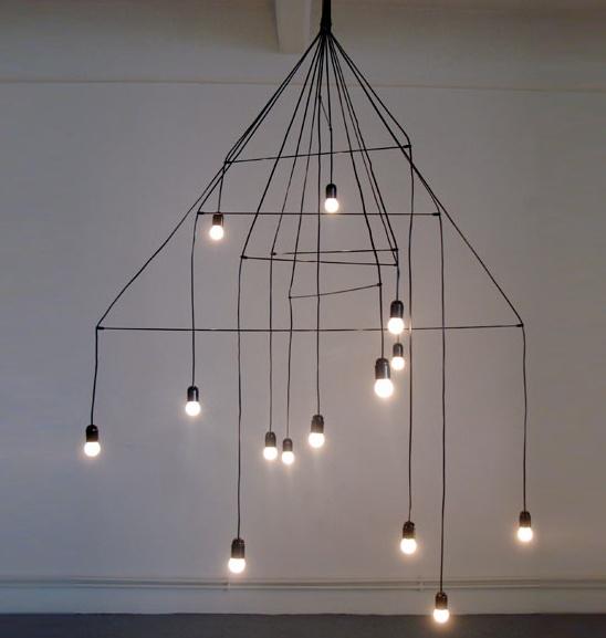 wire bulb chandelier
