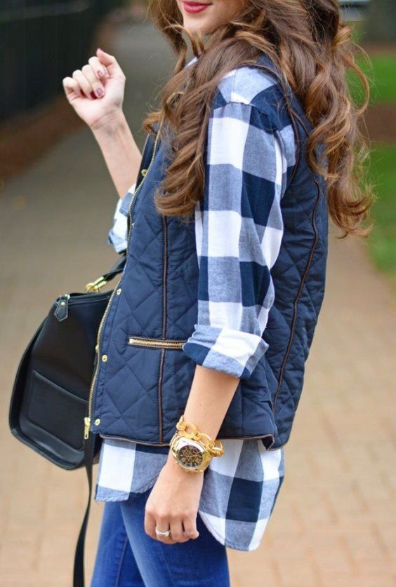 Navy Vest + Checked Shirt + Black Leather Tote Bag