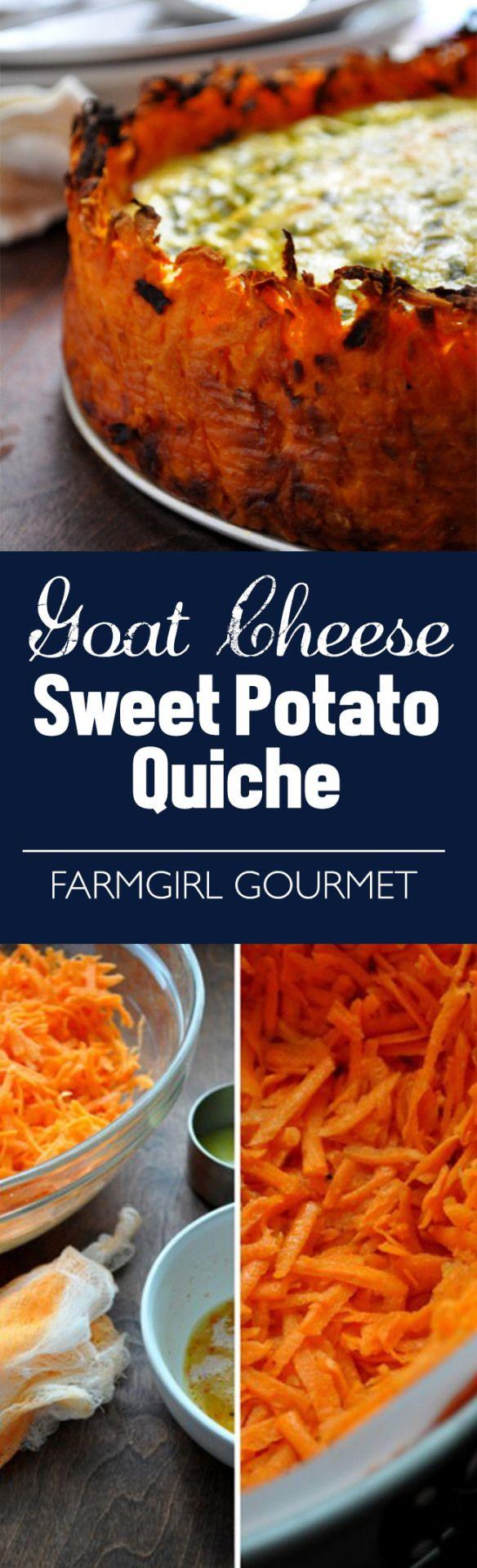 Goat Cheese Quiche with Sweet Potato Crust | farmgirlgourmet.com